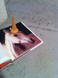 amazing! horse + ice cream cone = unicorn