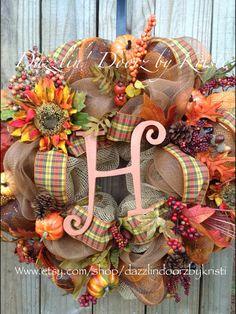 Burlap Fall initial Wreath