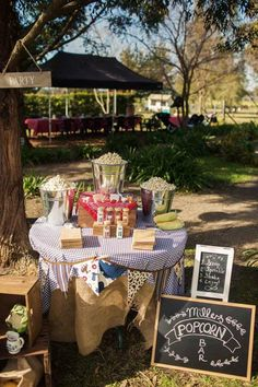 POPCORN BAR at a Farm Themed Birthday Party via Kara's Party Ideas | Kara'sPartyIdeas.com