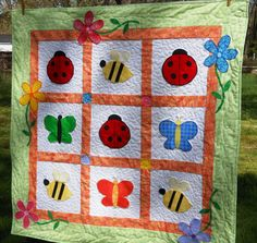 Baby Bugs Quilt by HoneyBunnyandDoll on Etsy, $150.00