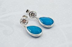 Sea Blue Jade Silver Cubic Zirconia Dangles by FrenchRobinDesigns