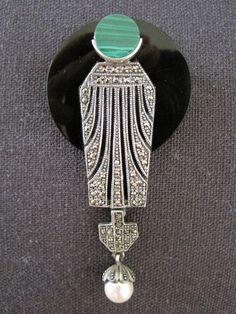 Vintage Art Deco Onyx Malachite Pearl Marcasite Sterling Brooch