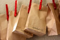 a Jesse Tree idea (put ornaments in numbered mini brown bags)