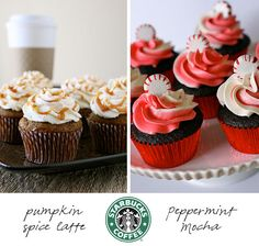 Starbucks cupcake recipes - pumpkin spice latte and peppermint mocha! Cupcakes Starbucks, Pumpkin Spice Latte, Starbuck Cupcak, Cupcake Recipes, Cupcak Recip, Peppermint Mocha, Holiday Cupcakes, Starbucks Cupcakes, Starbucks Recipes