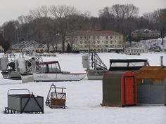 Ice fishing on Lake Erie in the Put-in-Bay harbor. Gibraltar Island in the distance.