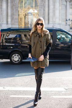 Khaki coat & thigh high boots #styletips