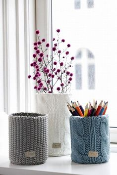 knitting projects, gift, offic, jar, recycled sweaters, diy, chunky knits, winter decorations, pencil holders