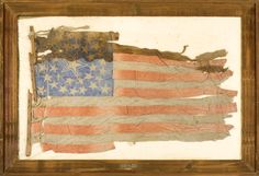 36-Star Glazed Cotton U.S. National Parade Flag, belonged to Thom. B. Ginn, of 46th Indiana infantry (1861-1864).