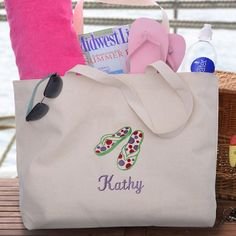 Flip Flop Personalized Tote for Women - Useful and fun gift for graduations, summer birthdays, or off to college!