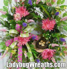 """Brand new wreaths for sale by http://www.LadybugWreaths.com.  Don't miss your chance to own an exclusive """"Ladybug Wreath"""" by Nancy Alexander"""