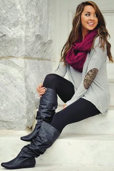 Fall Outfit With Elbow Patch Blouse, Scarf and Long Boots
