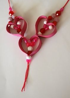 toilet paper roll valentines day necklace kids arts and crafts