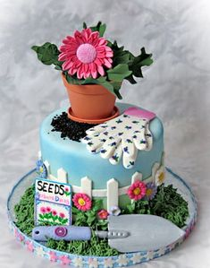 What a wonderfully detailed, springtime fantastic Gardening Cake. #gardening #flowers #spring #summer #food #decorated #cake #dessert #birthday