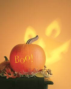 Two-Faced Pumpkin with Wall Projection