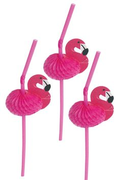 Pink Flamingo Straws  Set of 12 by WaitingOnMarthaCraft on Etsy, $4.00