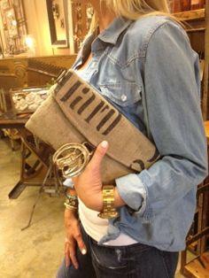 Close up of grain sack/horse brass purse