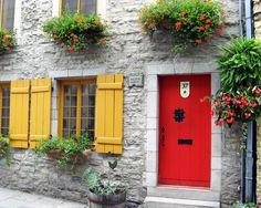Door Photography Old Quebec City Photos. Vieux Quebec Canada Red Yellow 8x10 Travel Photograph Metallic Paper