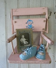 Vintage 1950s high-chair seat repurposed into a memory shelf