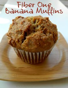 Banana Bread Fiber One Muffins  Ingredients Needed:  2 Cups of All Purpose Flour  1 Teaspoon of Baking Soda  1/4 Teaspoon of Salt  2 Cups of Fiber One 80 Calorie Honey Squares Cereal {crushed}  2 Eggs {whisked}  2 Teaspoons of Vanilla  1/3 Cup of Canola Oil  3 Bananas {mashed}