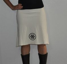 Organic clothing- Organic Cotton and Hemp Skirt with sacred geometry print- Seed of LIfe or Flower of LIfe via Etsy