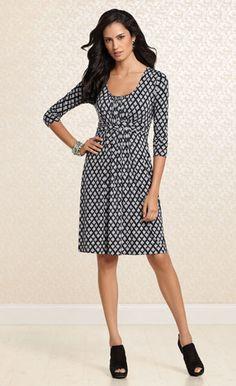 Elegant Encounter: #Soma Wrapped Waist Dress in Admire Print #SomaIntimates