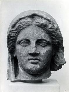 Marble statue of veiled Etruscan Vestal Virgin excavated at Banghazi Libya C.150 BC