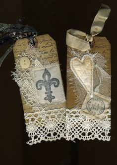 Mixed media Paris french shabby chic tags set of two. $8.00, via Etsy.
