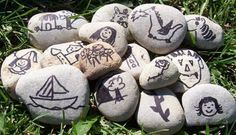 Story stones - this is a neat idea.  Draw simple pictures of people, animals, things, etc. on rocks and put them together (purposefully or randomly) to encourage story-telling!