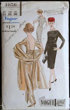 1950's evening gown pattern.