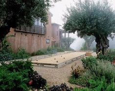 secret gardens, bocc ball, backyard games, courts, bocc court, garden design ideas, tennis court, outdoor games, backyards