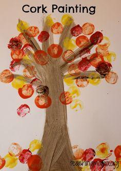 8 Leaf Activities for Preschoolers...@Teresa Selberg Selberg Selberg Ballesteros  save your wine corks!