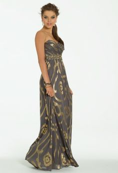 Long Strapless Metallic Swirl Dress from Camille La Vie and Group USA #homecoming #prom