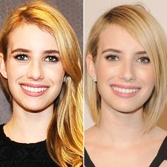EMMA ROBERTS The bride-to-be chopped her lengthy layers into an angled bob in late January.