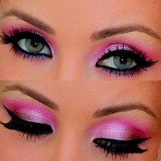 makeup eyes, eye makeup, valentine day, cat eyes, colors, beauti, eyeshadows, barbie, pink eyeshadow