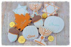 Decorated Hanukkah Cookies, Menorah, Dreidles, Star, Leaves, Acorns, Blue, White, Copper, Lite Blue, Gold, Thanksgivukkah Personalized