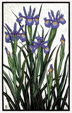 Rachel Newling - Irises Linocut
