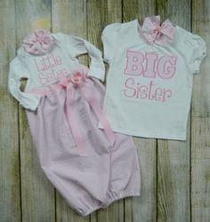 Newborn Gown Sister Matching Seersucker Outfits