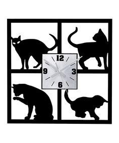 cat silhouett, silhouett clock