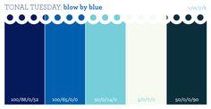 Tonal Tuesday: blow by blue #blue #turquoise #celadon #navy #color #scheme #palette