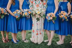 cobalt blue bridesmaid dresses, photo by Braun Photography http://ruffledblog.com/bohemian-wedding-with-a-colorful-patterned-dress #bridesmaids #bridesmaiddresses