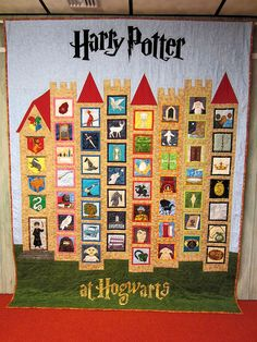 """Have the staff make their own """"castle"""" quilt. Use this as a template and have the staff create a square that reflects who they are."""