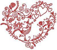 Free Valentine's Bird Embroidery Design