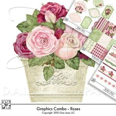 Cottage Roses - Shabby Chic - Downloads - Digital Clip Art, Graphics and Backgrounds for Scrapbooking, Gina Jane Designs - DAISIE Company