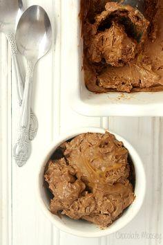 Chocolate Caramel Cheesecake Ice Cream is a luscious chocolate cheesecake ice cream layered with caramel sauce