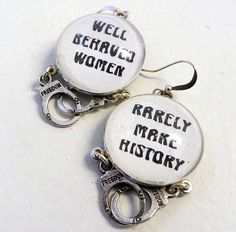 Feminist Geek Hipster Glass Earrings Well Behaved by Studiomoonny