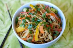 Spicy Peanut Noodles with Veggies and Chicken