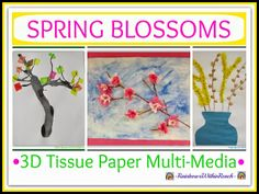 3D Spring Blossoms with Tissue Paper in Children's Art
