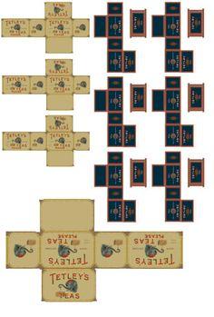 teas, tea box, dollhous mini, mini printies, tea printables, mini printabl