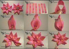 Flores de tela fabric flowers ribbon cinta 7 pétalos