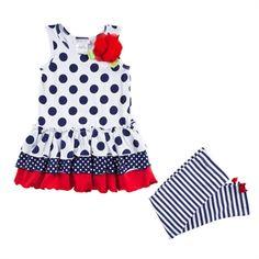 Bonnie Jean Girls 4-6x Dots and Stripes Dress Set #VonMaur #KidsClothes #Nautical